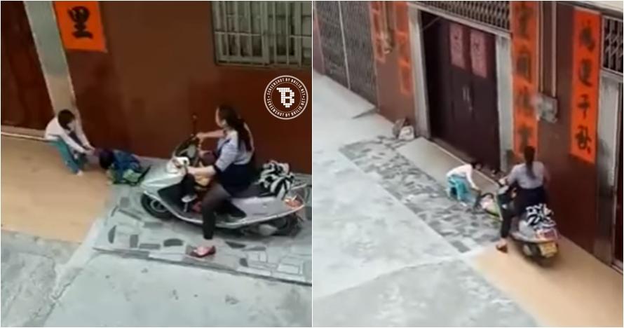Kejam, perempuan ini lindas kaki anak di trotoar dengan sepeda motor