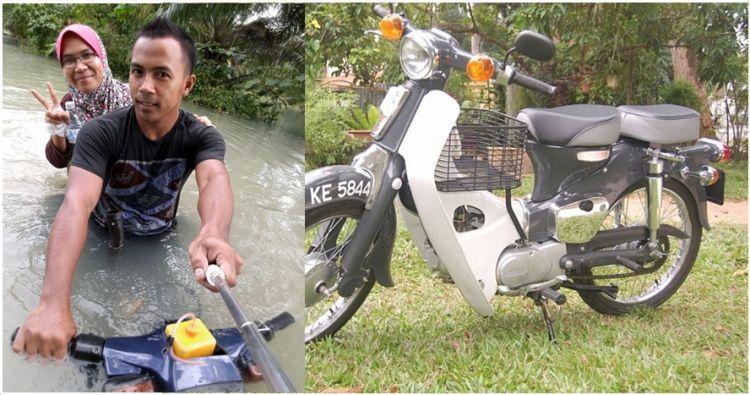 Sepeda Motor Modifikasi Pemuda Ini Mampu Membelah Banjir Bak Pera