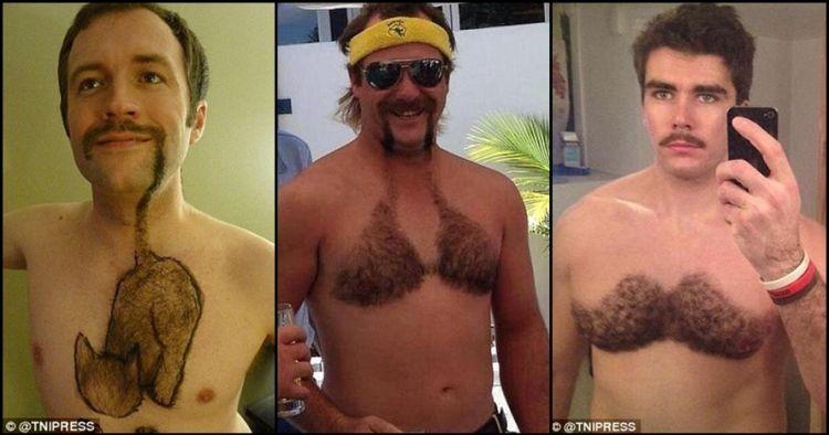 13 Pria ini cukur bulu dadanya dengan motif lucu, berani tiru?