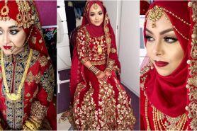 Suka warna merah? Coba deh 10 ide pengantin muslim ala India ini