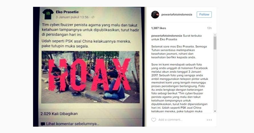 Surat terbuka Pewarta Foto atas tuduhan sebagai buzzer penista agama