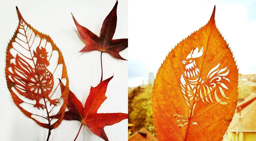 7 Ukiran indah ini dibuat di sehelai daun, kerennya bukan main