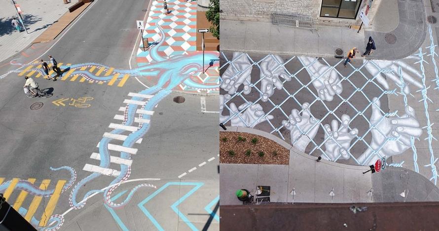 10 Gambar unik di jalanan ini bikin nggak capek jalan kaki