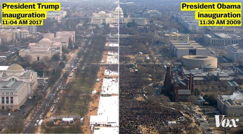 Foto perbandingan massa saat pelantikan presiden AS, banyak siapa ya?