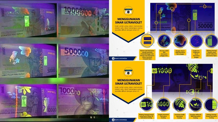 Ornamen unik muncul di uang rupiah baru ketika dilihat pakai sinar UV