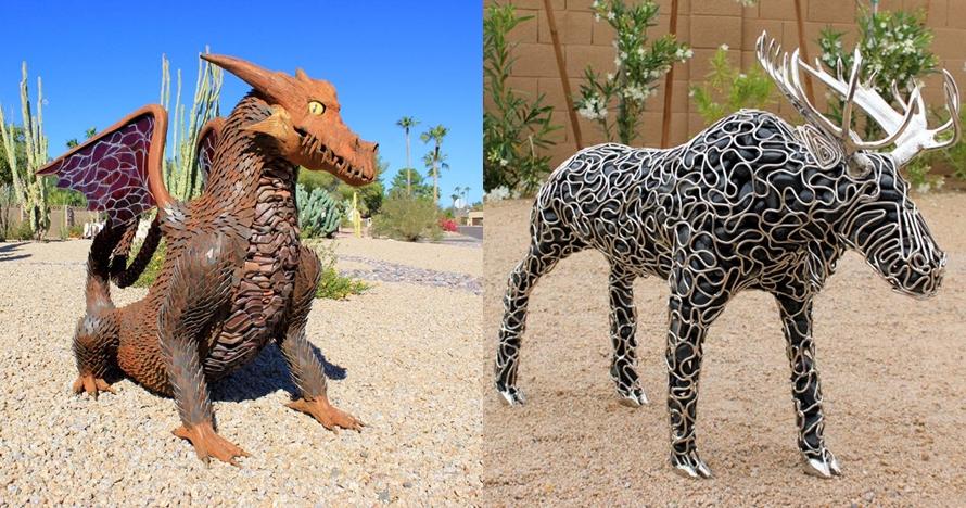 10 Patung besi & batu ini buktikan bikin karya seni nggak harus mahal