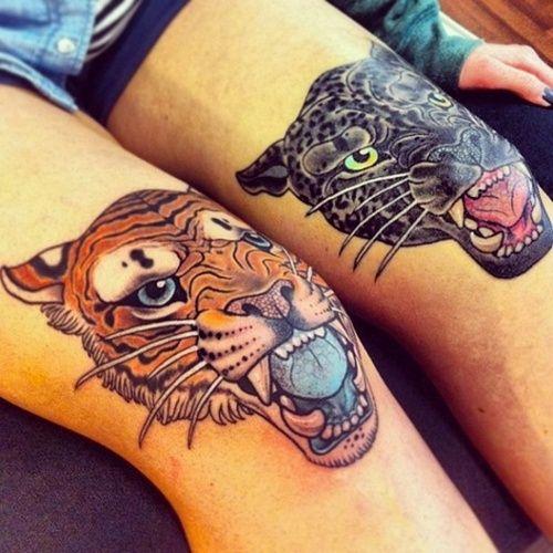 Тату на ноге тигр