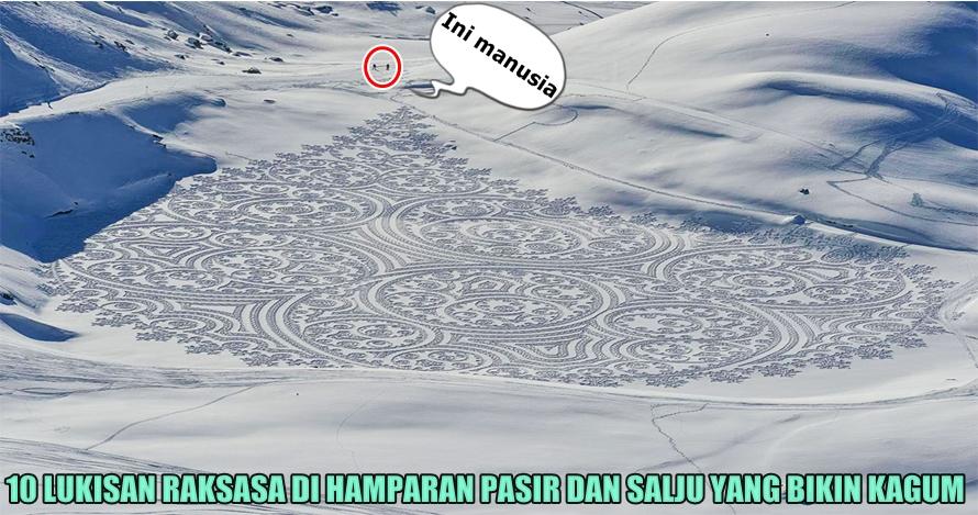 10 Lukisan raksasa di atas salju dan pasir ini dibikin dari jejak kaki