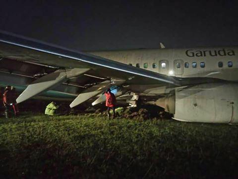 Ini foto-foto Pesawat Garuda Indonesia tergelincir di Adisutjipto
