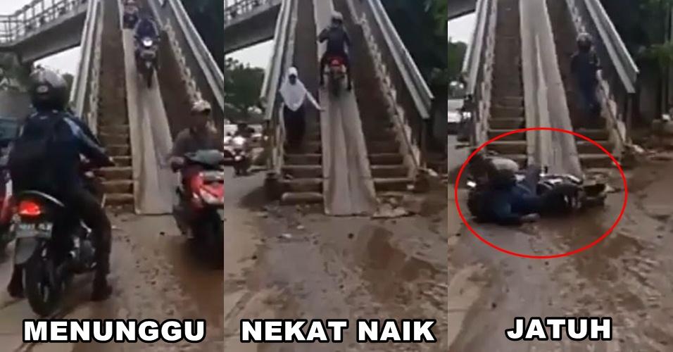Pemotor ngawur di jembatan penyeberangan ini akhirnya bernasib tragis