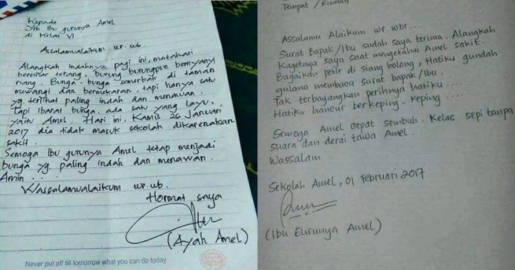 Surat Kocak Ayah Ibu Guru Dan Ibunya Amel Ini Isinya Bikin