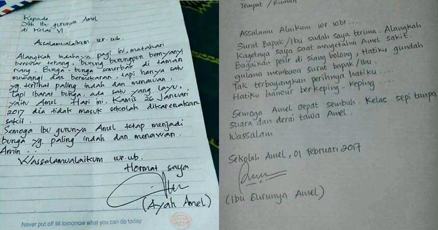 Surat kocak ayah, ibu guru dan ibunya Amel ini isinya bikin nyengir