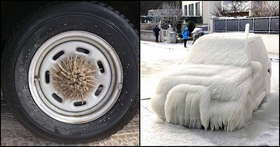 10 Insiden saat musim dingin ini ubah mobil jadi benda artistik