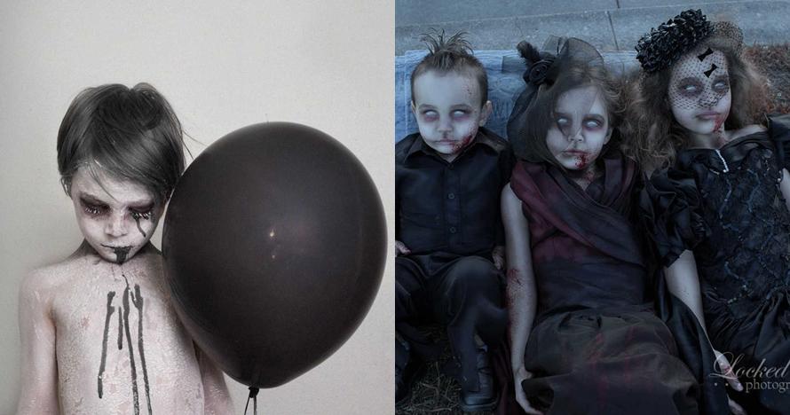 14 Foto ngeri anak-anak dengan kostum zombie ini menuai kontroversi