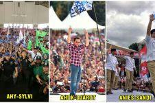 15 Foto tunjukkan beda kampanye akbar kandidat Pilkada DKI 2017