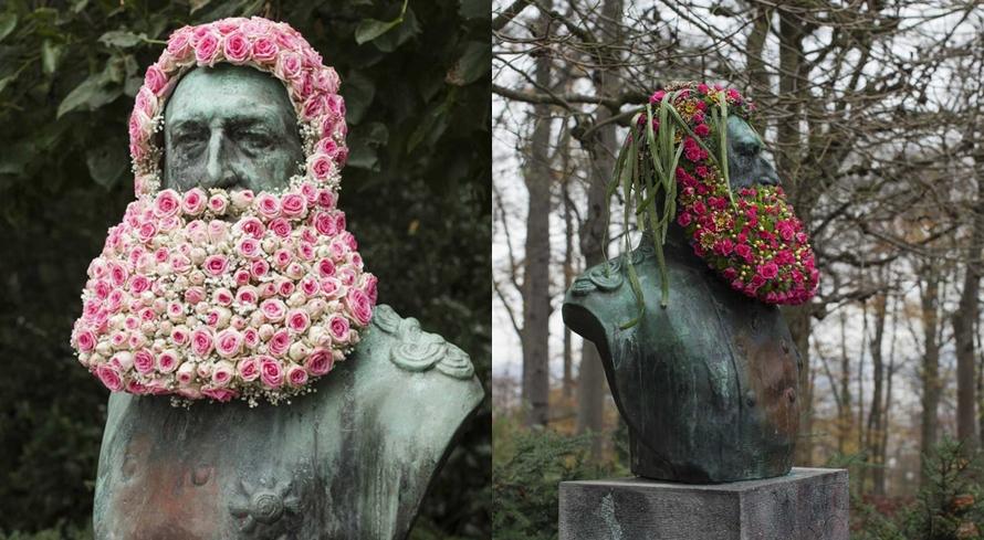 11 Karya seni perpaduan buket bunga dan patung, hasilnya unik banget
