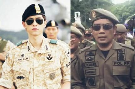 Pakai seragam satpol PP, Ridwan Kamil disebut mirip Song Joong-ki