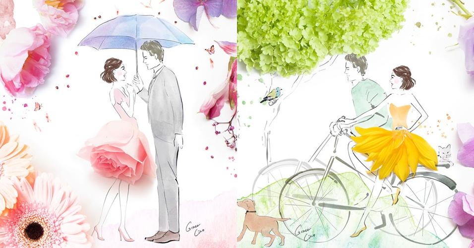 11 Ilustrasi cinta kombinasi dari lukisan dan bunga ini wow banget