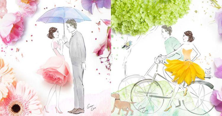 11 Ilustrasi Cinta Kombinasi Dari Lukisan Dan Bunga Ini Wow Bange