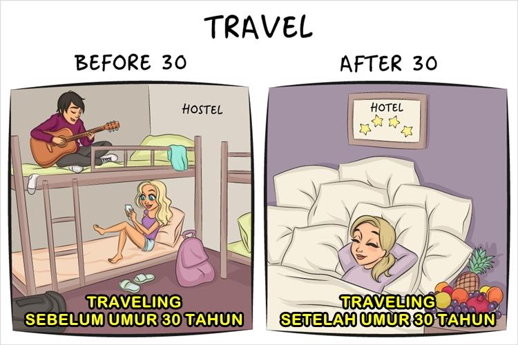 9 Ilustrasi perbedaan gaya hidup sebelum dan sesudah umur 30 tahun