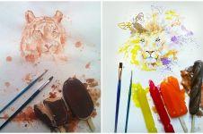 6 Lukisan berbahan lelehan es krim ini hasilnya menawan banget