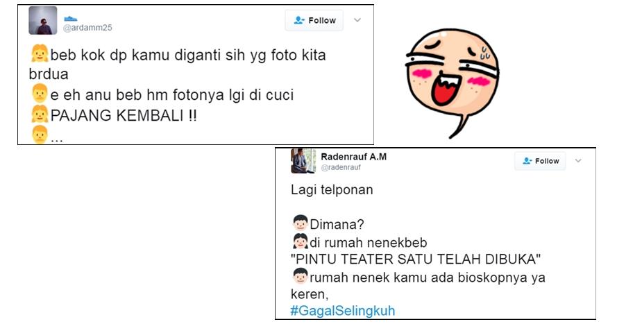 11 Cuitan netizen #GagalSelingkuh ini kocaknya bikin ketawa ngakak