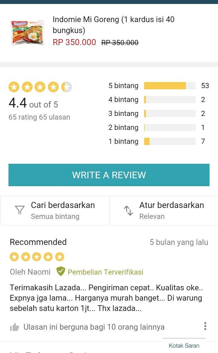 Seller di Lazada jual Indomie harga Rp 350 ribu, review