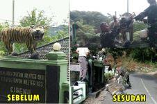 Patung harimau 'paling bahagia sedunia' akhirnya dirobohkan TNI