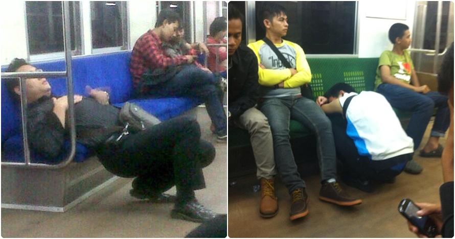 10 Foto gaya penumpang tidur di KRL, kasihan tapi juga bikin ketawa