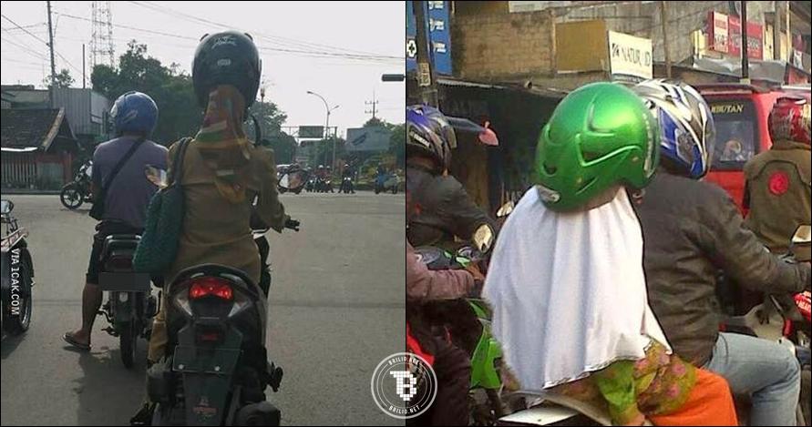 12 Foto gaya orang Indonesia pakai helm ini luar biasa uniknya, kocak