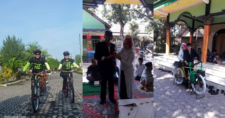 Ketemu jodoh di komunitas, pasangan ini menikah dengan maskawin sepeda
