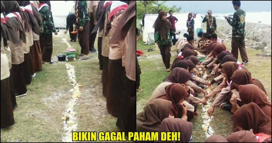 Foto viral anggota Pramuka makan beralaskan tanah ini bikin geram