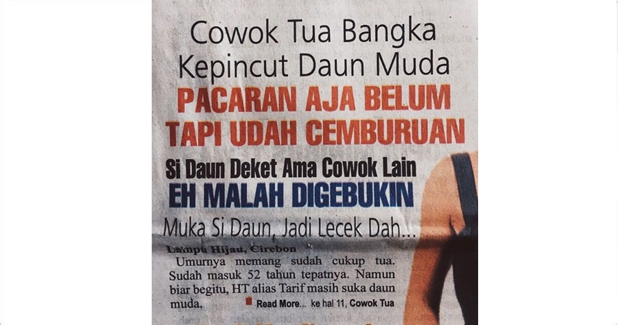 7 Judul koran 'asmara berujung pidana' ini kocaknya bikin ketawa lepas