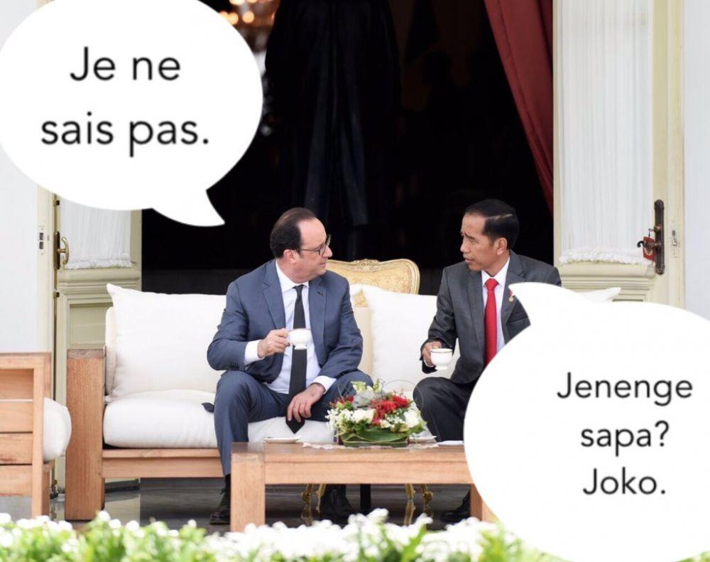 7 Meme Kunjungan Presiden Prancis Ini Kocaknya Kebangetan