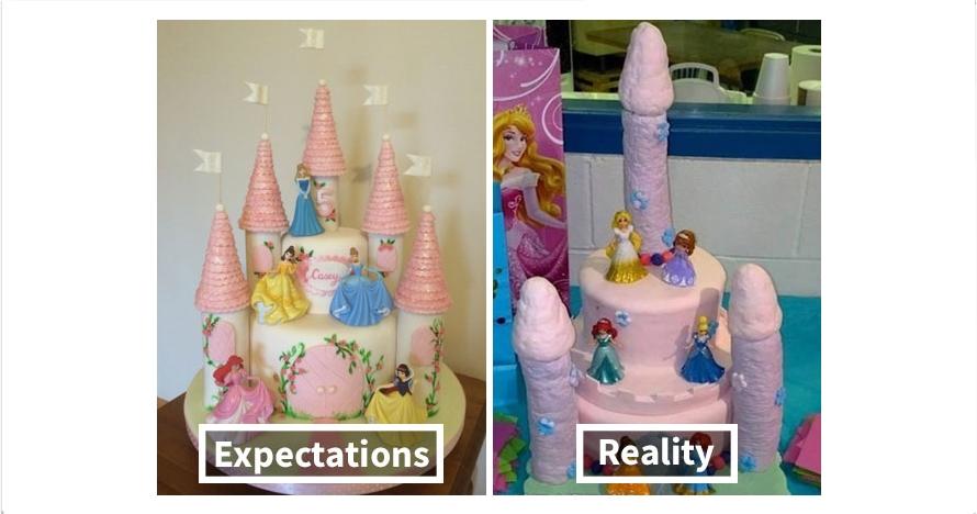 20 Foto ekspektasi vs realita kue ulang tahun ini bikin nggak selera