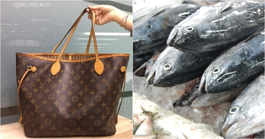 Dapat kado tas LV dari cucu, nenek ini memakainya buat beli ikan segar