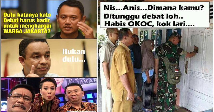 Tak hadiri debat antar cagub DKI, 7 meme ini sindir Anies-Sandi