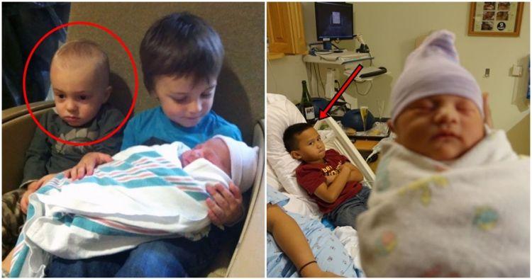15 Bocah ini ngambek pas adiknya lahir, nggak siap jadi kakak nih?