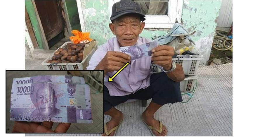 3 Pedagang tua ini kisahnya pilu, jualannya dibeli pakai uang mainan
