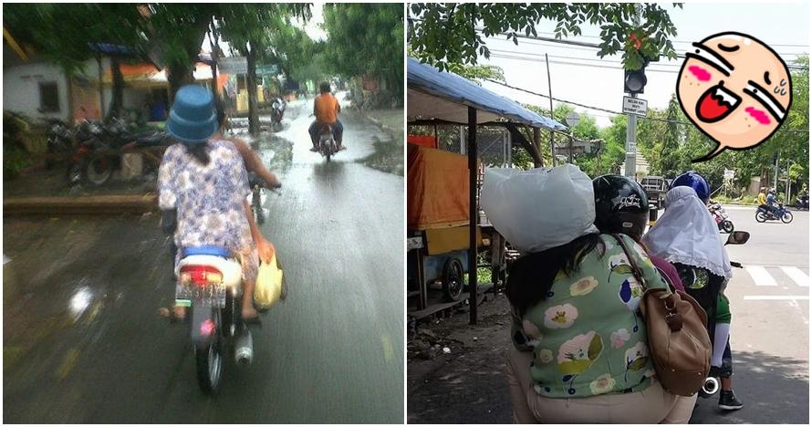 11 Foto kelakuan kocak orang Indonesia ganti helm dengan benda lain