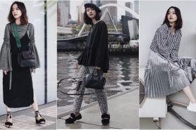 10 Gaya fashion ala Elxi Elvina, selebgram yang suka tampilan monokrom