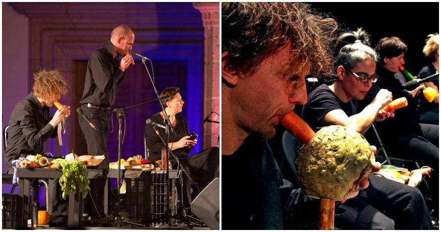10 Potret penampilan grup musisi yang bikin sayuran jadi alat musik