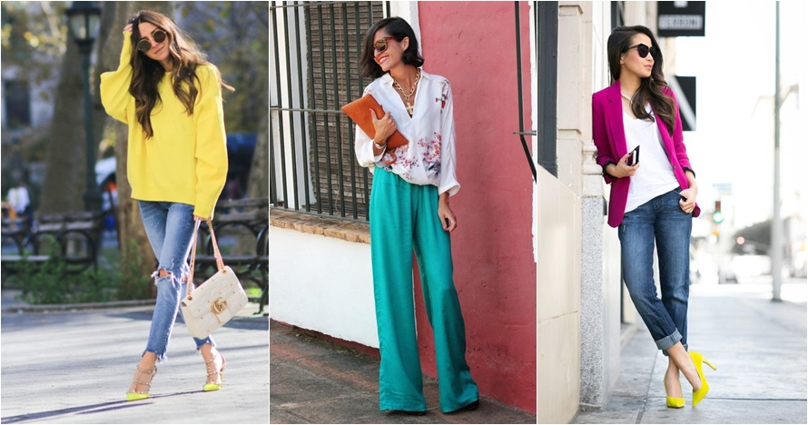 10 Padu padan fashion item warna terang tanpa terlihat norak, kece!