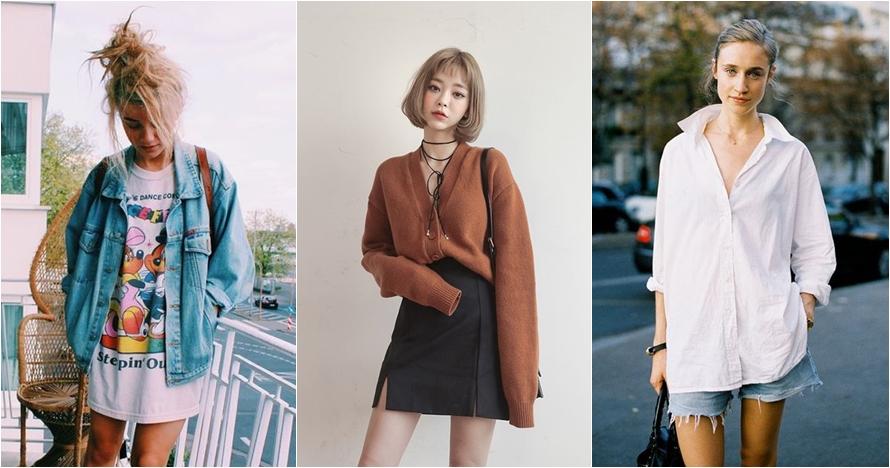 12 Inspirasi gaya busana oversized ini bikin kamu tetap kece & stylish
