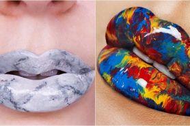 Marble lip, tren makeup kekinian yang bikin bibir bak batu marmer