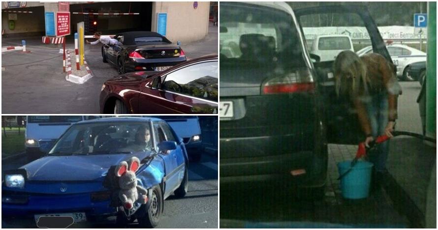 15 Foto kelakuan konyol wanita saat mengendarai mobil, duh parah