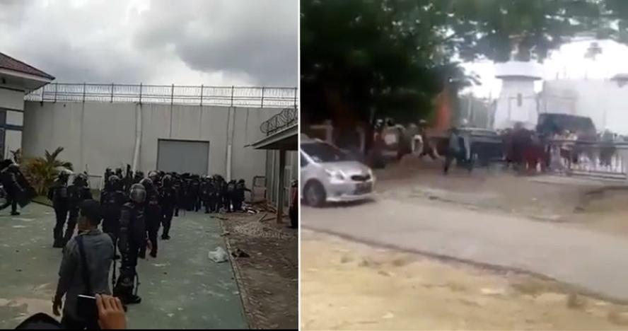 Video amatir detik-detik kaburnya ratusan napi dari rutan di Pekanbaru