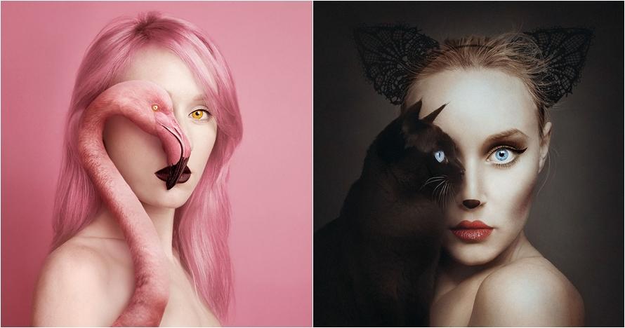 11 Potret gabungan wajah wanita dengan mata hewan ini kreatif parah