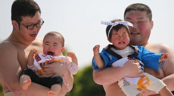 100 Bayi di Jepang ikuti sumo menangis, alasannya tak terduga banget