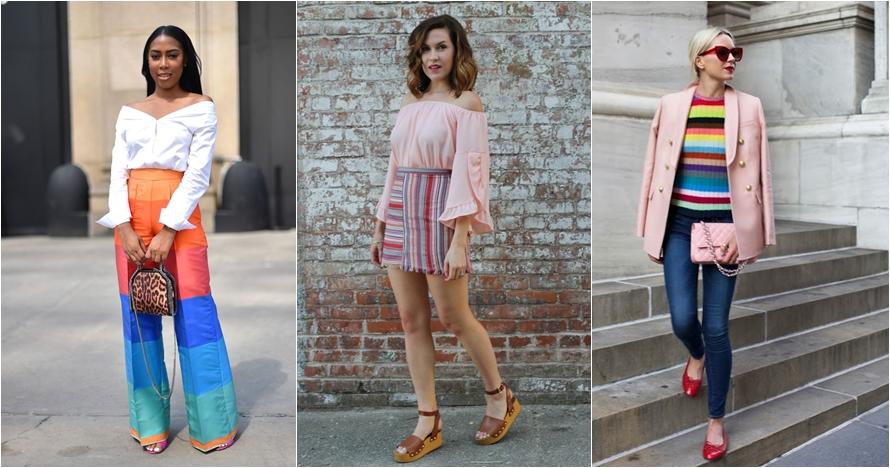 10 Inspirasi gaya colorful stripes item bikin penampilan makin keren